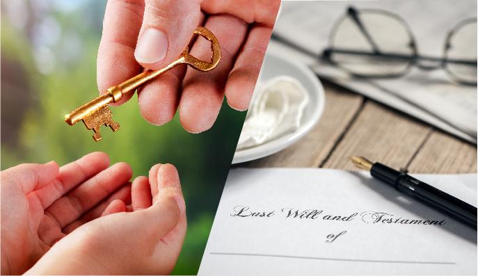 Una immagine è divisa diagonalmente a metà con, a sinistra, una mano che dà una chiave ad una mano più giovane a rappresentare la donazione, a destra, una penna è appoggiata sopraun testamento da compilare per la successione del patrimonio.