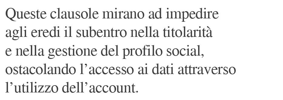 clausole eredità accesso account